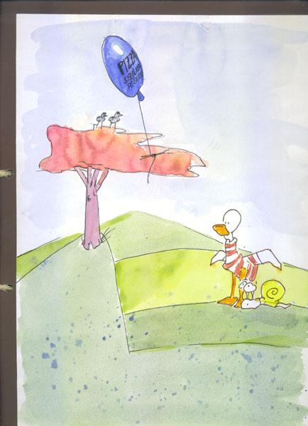 """2""""Sizilien bei Roberto"""", liest Rollo.<br> """"Laß uns dorthinfliegen!""""<br><br> """"Einverstanden"""", sagt Quack.. Bild"""