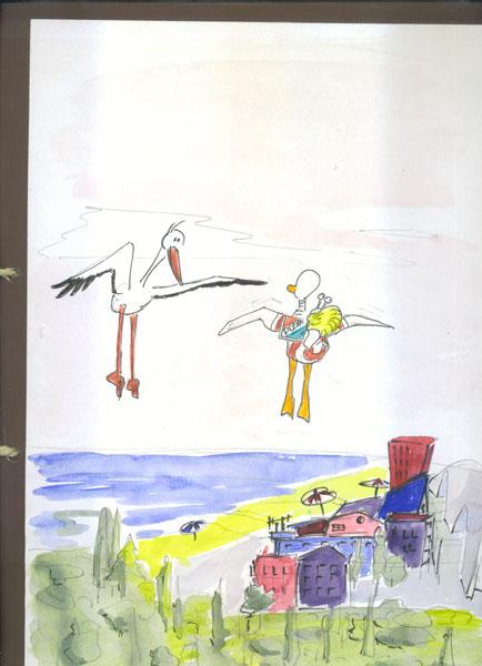 4Sie fragen den Storch nach dem Weg, der kennt sich in der Gegend aus.. Bild