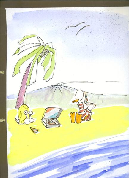 5Am Strand machen sie Brotzeit.. Bild